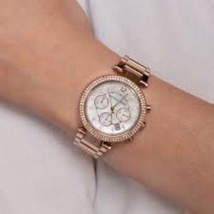 MICHAEL KORS~5491~parker~ROSE-GOLD & CRYSTAL LADIES' OVERSIZED CHRONOGRAPH WATCH